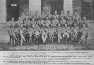 Officers of the 1/6th (Rochdale) Battalion Lancashire Fusiliers, pictured just prior to landing at Gallipoli, amongst them are Manchester University ex-students Eric Duckworth and Alfred Clegg both killed in the fighting at Krithia Vineyard in August 1915. (Image by kind permission of Martin Purdy & Moonraker Publishing:thegallipolioak.co.uk)
